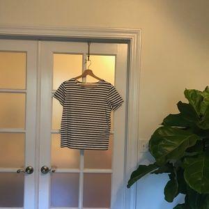 White & Navy Striped Top | Mod Ref